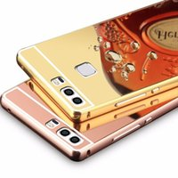 Wholesale Nexus S Covers - Luxury Acrylic Aluminum Metal Mirror Case For Huawei Ascend P9 P8 Lite G8 G7 Mate 8 7 S Nexus 6P G610 G730 Y625 8816 Back Cover