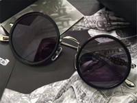 óculos de sol cruzados venda por atacado-New vintage Chrome óculos de sol dos homens designer de marca estilo steampunk cruz logotipo redondo quadro retro New york designer vêm com caso original