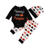 Wholesale Newborn Black Leggings - Baby Halloween Clothes Newborn Autumn Winter Mommy's little Pumpkin print 3pcs Outfit Infant Long Sleeve Romper Leggings Hat set