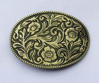 ingrosso fibbie ovali-Fibbia ad ardiglione Western Indian Flower con fiore floreale vintage ovale SW-BY442 adatta per 4 cm di larghezza della cintura
