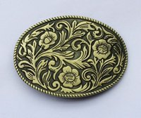 Wholesale Wholesale Native American - Oval Vintage Floral Flower Native American Indian Wester Belt Buckle SW-BY442 suitable for 4cm wideth belt
