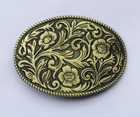 indische blumen großhandel-Ovale Vintage Floral Flower Indian Western Gürtelschnalle SW-BY442 passend für 4cm breiten Gürtel