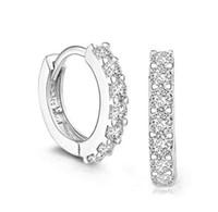 Wholesale crystal earrings single - 13mm Single row diamond earrings women Austria Crystal clip on ear buckle Korean style white gold earrings