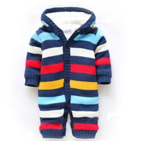 Wholesale Sleeping Rompers For Baby - (0-1Y) baby overalls for winter romper, color multi-striped thick fleece warm romper, thick cottom knit rompers no sleep romper free shpping