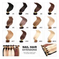 colores de cabello italiano al por mayor-Sedoso Liso 100 g Prebonded Italian Keratin Nail Tip U punta Fusion Indian Remy Extensiones de cabello humano 100 hilos 16