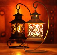 Wholesale Black Tea Light Candles - Free shipping Iron Moroccan Style Candlestick European classical hollow Candleholder Candle Tea Light Holder Decor hot
