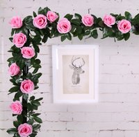 2,1M de haute qualité Artificial Rose Garland Silk Flower Vines Ivy Home Wedding Garden Decoration