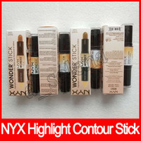 Wholesale green shades color for sale - Group buy NYX Colors Wonder stick highlights and contours shade stick Light Deep Face foundation Bronzers Concealer