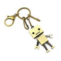 Wholesale robot animals cartoon - Creative jewelry Retro Robot Cartoon Keychain key rings Key accessories customized gifts Wedding Favor Couples jewelry