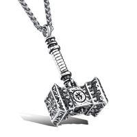 thor hammer gold al por mayor-Collar Thor Hammer en acero inoxidable Collar de superhéroe - Plata, Oro