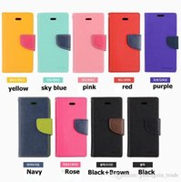 Mercury Wallet PU Flip Leather Stand Case Slot de cartão para iPhone 4 5 6 Plus Samsung Galaxy S3 S4 S5 i9600 Nota 2 3 Com pacote de varejo