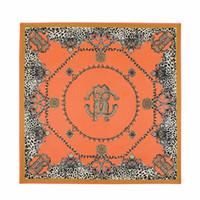 Wholesale original silk scarves - Wholesale- 2016 Twill Silk Square Scarf Leooard Belt Tiger Print Big Size Kerchief Original Design Foulard Shawls Wrap Female Scarf
