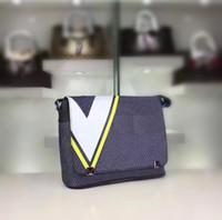 Wholesale Exclusive Handbags - District handbags American cup series exclusive design shoulder V Gaston Logo Damier Latitude pattern Message bag Men day clutch purse