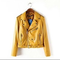Wholesale Leather Jacket Sleeve Detail - Fashion Spring 2016 new Brand Women Mustard Short Faux Leather Motorcycle Cropped Biker jackets Hem belted Zips details Epaulets