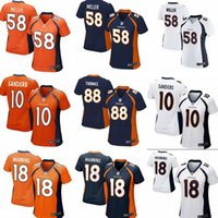 Wholesale Denver Football Jerseys - Wholesale women football Jerseys 58 Von Miller Denver cheap Broncos jerseys 88 Demaryius Thomas Game authentic football shirt size:S-2XL