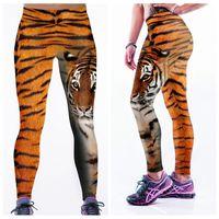 Wholesale Women Tiger Print Pants - Summer Yoga Pants Bodybuilding Quick Dry Leggings Fashion High Waist Sports Trousers Jogging 3D Print Elastic Capris Tiger Woman LNASlgs