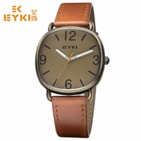 Wholesale Eyki Male Watch - Hot Sale Men Quartz Watch Leather Belt Watches EYKI Casual Wristwatch Round Military Watch Male Simple Business Montre Femme Luminous Clock