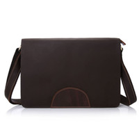 Estilo Novo Vintage Genuine Leather Men Business Handbag Pasta Cowhide Mensageiro Ombro saco Louco Cavalo Tote Laptop Bag grande