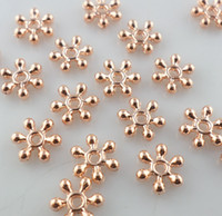 Wholesale Gold Spacers Mixed - Dainty Snowflake Flower Loose Beads 400pcs lot Mixed Rose Gold Silver Spacer Beads DIY Jewelry Findings 3x8mm