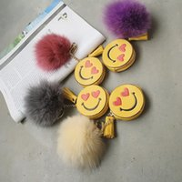Wholesale Cylindrical Ring - Wholesale- Emoji Smile Smiling Charm With Hairl Ball Sweetheart Eyes Small Coin Purses Wallet Monster key Ring bag Tassel Pendent for Bag