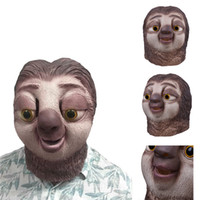 Wholesale famous halloween masks - Famous Cartoon Movie Sloth Mask Latex Full Head Animals Cute Sloth Halloween Party Cosplay Prop Masks