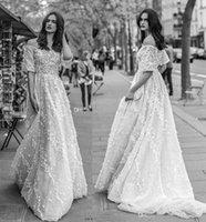 Wholesale Straight Wedding Dress Short Sleeves - full embellishment off the shoulder wedding dresses 2018 liz martinez bridal straight across neckline a line sweep train