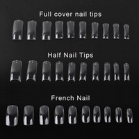 Wholesale french nail arts for sale - Group buy 500 Clear False Nail Acrylic UV Gel Half French Transparent Nail Tips For Women Nail Art Beauty Tools