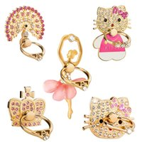 Wholesale Peacock Rings - Metal Universal 360 Degree Pink Peacock Crown Cat Rabbit Crystal Finger Ring Holder Phone Stand For Mobile Phones Multi-style