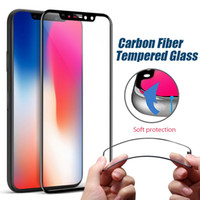 Wholesale Iphone Design Screen Protector - For Iphone X 8 Rim Tempered Glass Full Coverage Screen Protector Carbon Fiber Design 9H 0.33mm Soft Round Edge With Retail Package