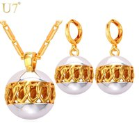 Wholesale two tone gold jewelry set for sale - Group buy unique Two Tone Gold Heart Hollow Women Jewelry Sets Mix Platinum K Real Gold Plated Round Earrings Pendant Necklace Bead Set S824