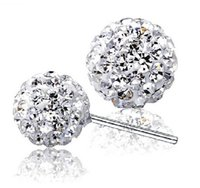 Wholesale Disco Ball Earring 8mm - 925 Silver Shamballa Crystal Earrings disco Ball Stud Earrings Swarovski Jewelry for Women with Rhinestone 6mm 8mm 10mm 12mm