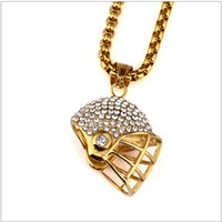 Wholesale Helmet Punk - 2017 Newest Hipsters Punk Hip Hop Jewelry Titanium Steel 24K Gold Plated Rhinestone Rugby Helmet Pendant Long Chains Necklace For Mens Women