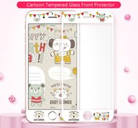 Wholesale Iphone Custom Glass - Fashion Design Custom Cell Phone Screen Protector Embossed Cartoon Design 9H Hardness Tempered Glass for Iphone6 6plus Iphone7 Retail Pack