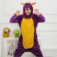 Wholesale Cosplay Pajamas Dragon - Free Shipping Spyro Purple Dragon Animal Onesies Onesie Adult Unisex 2016 Fashion Cosplay Costume Pyjamas Pajamas