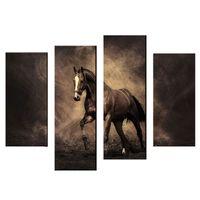 at resimleri toptan satış-4 Panel Modern Sanat Sergisi Büyük At Tuval Duvar Asma Sanat Dekorasyon için Resim Sergisi