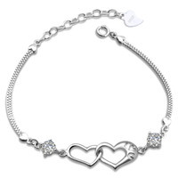 Wholesale Boxed Set 925 Silver - Korean female models 925 sterling silver double heart bracelet Europe happiness signal silver jewelry wholesale jewelry explosion models