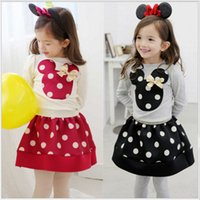Wholesale Shirt Long Dress Girl - 2016 Minnies mouse clothing girls spring sets long sleeve dots T-shirt+short skirts 2pcs baby girl's dresses children outfits kids clothes