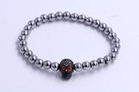 Wholesale Silver 925 Skull Chain - Gadget 2016 Innovative 925 Sterling Silver Evil Eye Beads Crystal Human Skull Model Red Crystal Eyes Bracelet