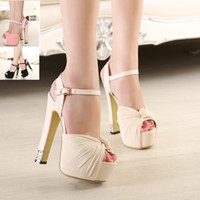 Wholesale Platform Sandal Lace Up - Luxury Ivory white glitter wedding shoes sandals elegant bridal shoes pumps platform high thick heels 2015 size 35 to 39