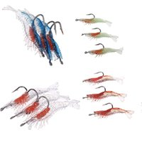 Wholesale Soft Lures Noctilucent - Sizes 3pcs lot 6cm 3g Artificial Fishing Lure Sea Bionic Shrimp Prawn Bait Fishing Tackle Noctilucent Luminous Lifelike with Hook H10941