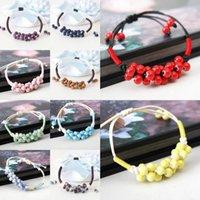 Wholesale Waxed Cord Adjustable Bracelet - 1pc Charms Ceramics Beads Pendant Beaded Bracelet Waxed Cotton Cord Adjustable Bangle Womens Fashion Jewelry