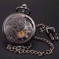 Wholesale Skeleton Wing Necklace - Wholesale-Antique Black Skeleton Phoenix Wings Carving Case Men Hand Wind Necklace Chain Fob Clock Fashion Hollow Mechanical Pocket Watch