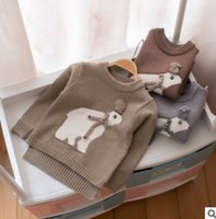 Wholesale Cute Sweaters For Baby Girls - Toddler knitted sweater winter baby boys girls cute big winter bears knitting pullover kids cartoon animal jumper Age for 1-3 Years R0225