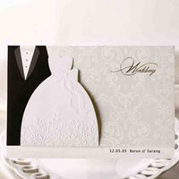 Wholesale laser cut greeting cards - 50Pcs Bride And Groom Laser Cut Marriage Wedding Invitation Card Greeting Card 3D Card Printable Postcard Event Party Supplie