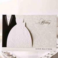 Wholesale groom bride wedding invitation card - 50Pcs Bride And Groom Laser Cut Marriage Wedding Invitation Card Greeting Card 3D Card Printable Postcard Event Party Supplie