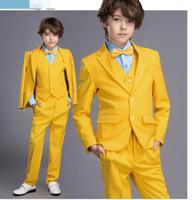 Wholesale Baby Boy Black Wedding Pants - 2016 Boy's Formal Wear Suits For Boy Notch Lapel Baby Kids Formal Occasion Wedding Party Children Tuxedos (Jacket+Pants+Vest)