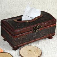 Wholesale Crafts Tissue Boxes - Wholesale- 1Pc 21*12*11CM Elegant Crafted Wooden Antique Handmade Old Tissue Box Antique Tissue Box