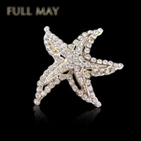 Wholesale Gold Plated Rhinestone Buckle - High-grade starfish brooch brooches Crystal starfish brooch fashion chain.scarves buckle a corsage amphibious, rhodium plated women brooch!