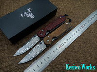 Wholesale Damascus Hunting - New Chris Reeve Damascus blade folding knife wood handle outdoor camping pocket knife free shipping high quality