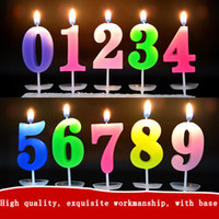 Wholesale Digital Birthday Candle - free shipping Birthday Digital Candle 0-9 With a base candle Color cake shop baking candle Creative romantic candles